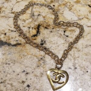 """Chanel heart necklace, sz1.5""""×1.5""""./18"""" chain."""